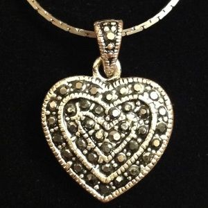 Jewelry - HEART WITH BLACK RHINESTONES SILVER TONE